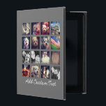 """Photo Collage with Charcoal Background - 16 pics iPad Cover<br><div class=""""desc"""">Add your favorite photo sharing pics to this fun grid.</div>"""