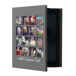 Photo Collage with Charcoal Background - 16 pics iPad Cover