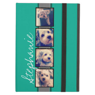 Photo Collage with Emerald Green Custom Name Cover For iPad Air