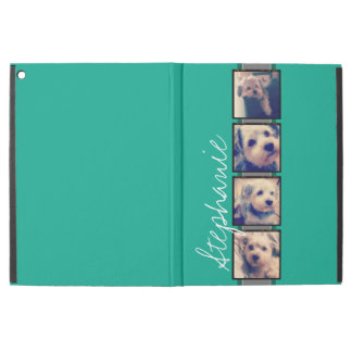 """Photo Collage with Emerald Green Custom Name iPad Pro 12.9"""" Case"""