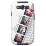 Photo Collage with Gray White Chevron Pattern Galaxy SIII Case