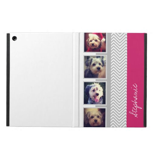 Photo Collage with Gray White Chevron Pattern Case For iPad Air