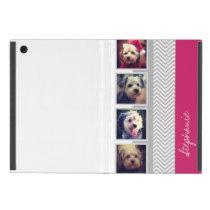 Photo Collage with Gray White Chevron Pattern iPad Mini Case