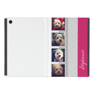 Photo Collage with Gray White Chevron Pattern iPad Mini Case
