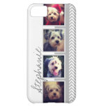 Photo Collage with Gray White Chevron Pattern iPhone 5C Cases