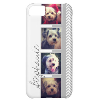 Photo Collage with Gray White Chevron Pattern iPhone 5C Cover