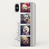 Photo Collage with Gray White Chevron Pattern iPhone X Case