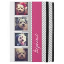 "Photo Collage with Gray White Pink Chevron Pattern iPad Pro 12.9"" Case"