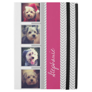 "Photo Collage with Gray White Pink Chevron Pattern iPad Pro 12.9"" Case"