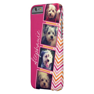 Photo Collage with Hot Pink and Orange Chevrons Barely There iPhone 6 Case