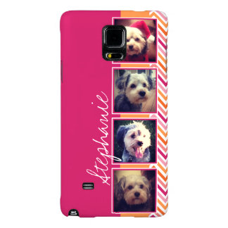 Photo Collage with Hot Pink and Orange Chevrons Galaxy Note 4 Case