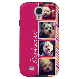Photo Collage with Hot Pink and Orange Chevrons Galaxy S4 Case