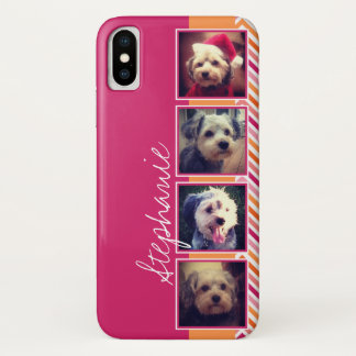 Photo Collage with Hot Pink and Orange Chevrons iPhone X Case