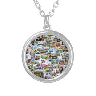 Photo collage with many pictures round pendant necklace