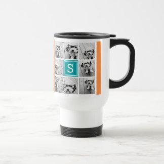 Photo Collage with Monogram - Orange and Teal Travel Mug