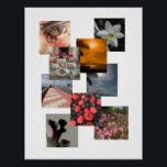 """Photo Collage With No Borders Design Poster<br><div class=""""desc"""">Photo collage with no lines or borders and space for 9 lots of photos. Create a fun photo collage by adding your own pictures.</div>"""