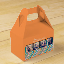 Photo Collage with Orange and Teal Chevrons Favor Box