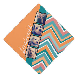 Photo Collage with Orange and Teal Chevrons Graduation Cap Topper
