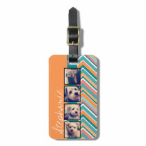 Photo Collage with Orange and Teal Chevrons Luggage Tag