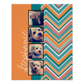 Photo Collage with Orange and Teal Chevrons Poster