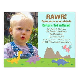 Photo Colourful Dinosaur Birthday Party Card
