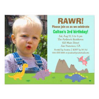 Photo Colourful Dinosaur Birthday Party Invitations