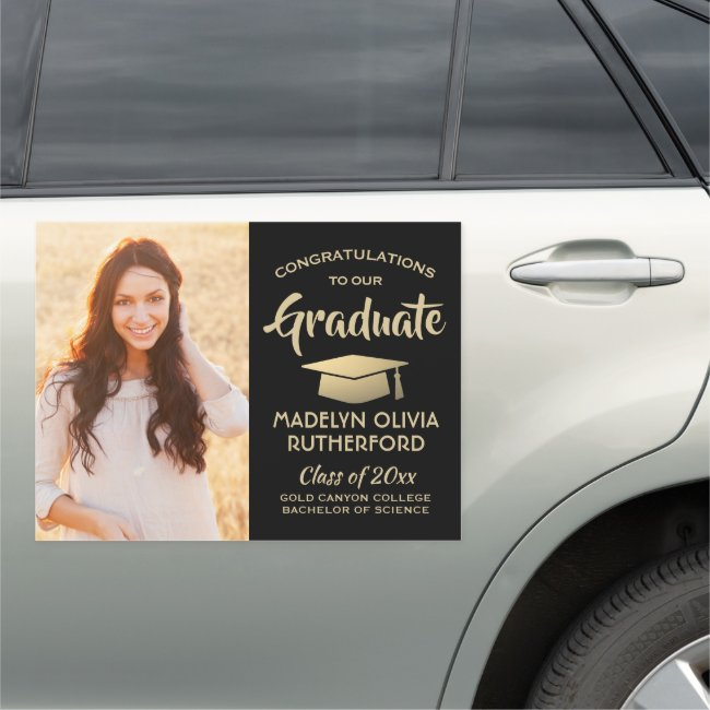 Photo Congrats Black Gold Modern Graduation Parade Car Magnet