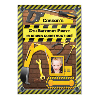 Photo Construction Birthday Party Tools and Digger Card