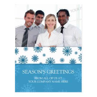 Photo Corporate Season s Greetings Postcards Blue