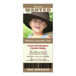 "Photo Cowboy Birthday 4"" X 9.25"" Invitation Card"
