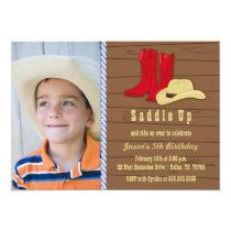 Photo cowboy birthday party invitation