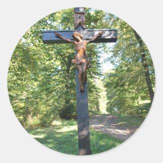 Photo Crucifix with Jesus Square Sticker