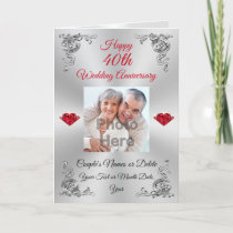 Photo Custom 40th Ruby Wedding Anniversary Cards