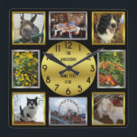 """Photo Custom 8 Picture Personalized Black Gold Square Wall Clock<br><div class=""""desc"""">This personalized photo square wall clock has a classy look with square, rectangular and circular shapes in shades of gold, silver and black. Use the template fields to easily add 8 photos: 4 square Instagram-style pictures plus two horizontal and two portrait / vertical. Then add up to four short lines...</div>"""