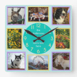 Photo Custom 8 Picture Personalized Color Block Square Wall Clock