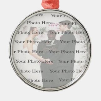 Photo Custom Round Silver Wedding Ornament
