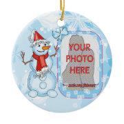 Photo customizable Xmas Snowman on snowflakes ornament