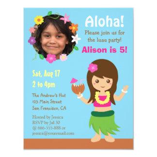 Photo Cute Hawaii Hula Girl Luau Party 4.25x5.5 Paper Invitation Card