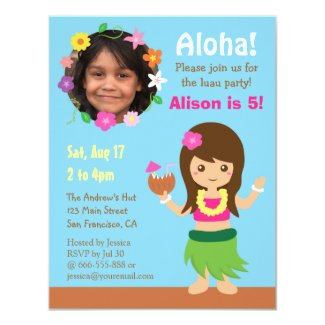 Photo Cute Hawaii Hula Girl Luau Party Card