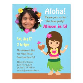 Photo Cute Hawaii Hula Girl Luau Party Custom Invitation