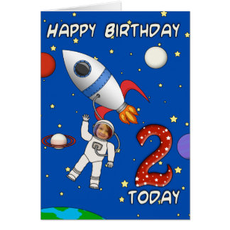 Photo Cutout Astronaut Child's 2nd Birthday Card