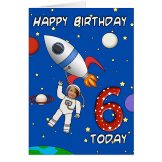 Photo Cutout Astronaut Child's 6th Birthday Card