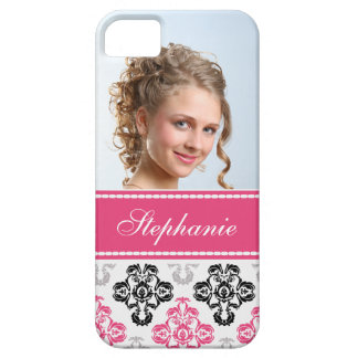 Photo damas pink black  gray label iPhone SE/5/5s case