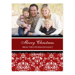 Photo Damask Merry Christmas Postcards Red