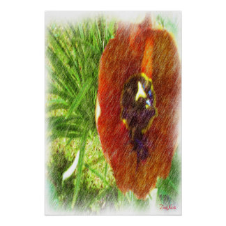 Photo drawing tulips poster