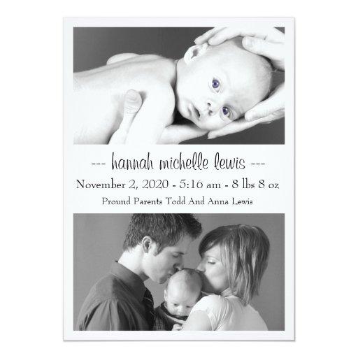 Photo Duo New Baby Announcement (White)