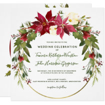 Photo Elegant Poinsettia Floral Christmas Wedding Invitation