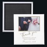 """Photo Elegant Thank you Wedding Magnet<br><div class=""""desc"""">A favor wedding magnet with personalizable wedding photo,  names and wedding date. An elegant and stylish thank you magnet - great as a gift for your guests.</div>"""