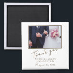 "Photo Elegant Thank you Wedding Magnet<br><div class=""desc"">A favor wedding magnet with personalizable wedding photo,  names and wedding date. An elegant and stylish thank you magnet - great as a gift for your guests.</div>"