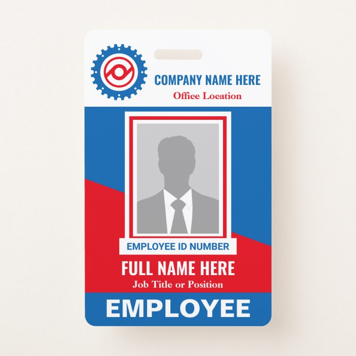 Photo Employee Tricolor Any Color Template Id Badge Zazzle Com